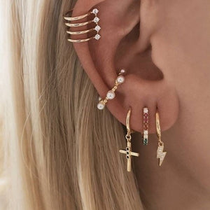 KATAI GOLD CROSS EARRINGS