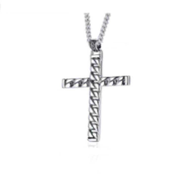 ROPE CROSS SILVER NECKLACE