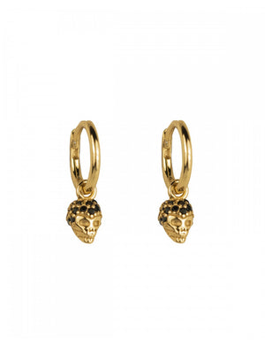 BLACK SKULL GOLD EARRINGS