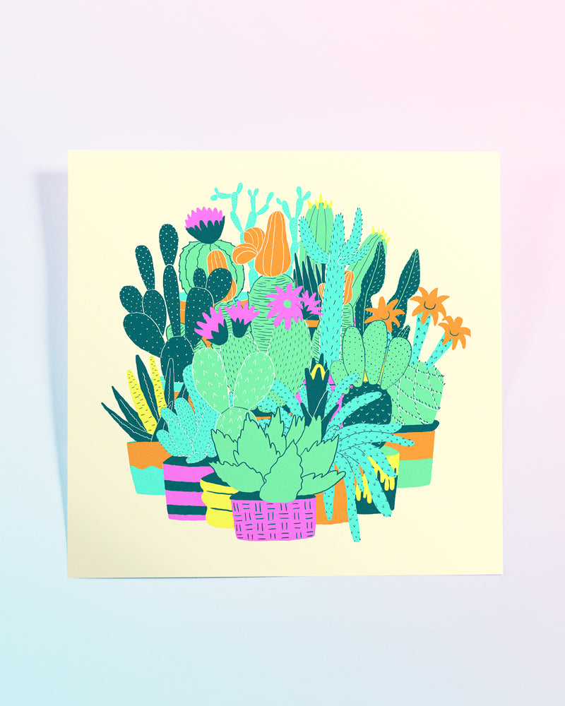 Colourful Cacti Giclee Print