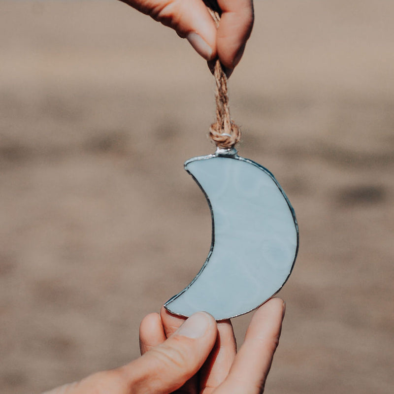 Stained Glass Moon Ornament
