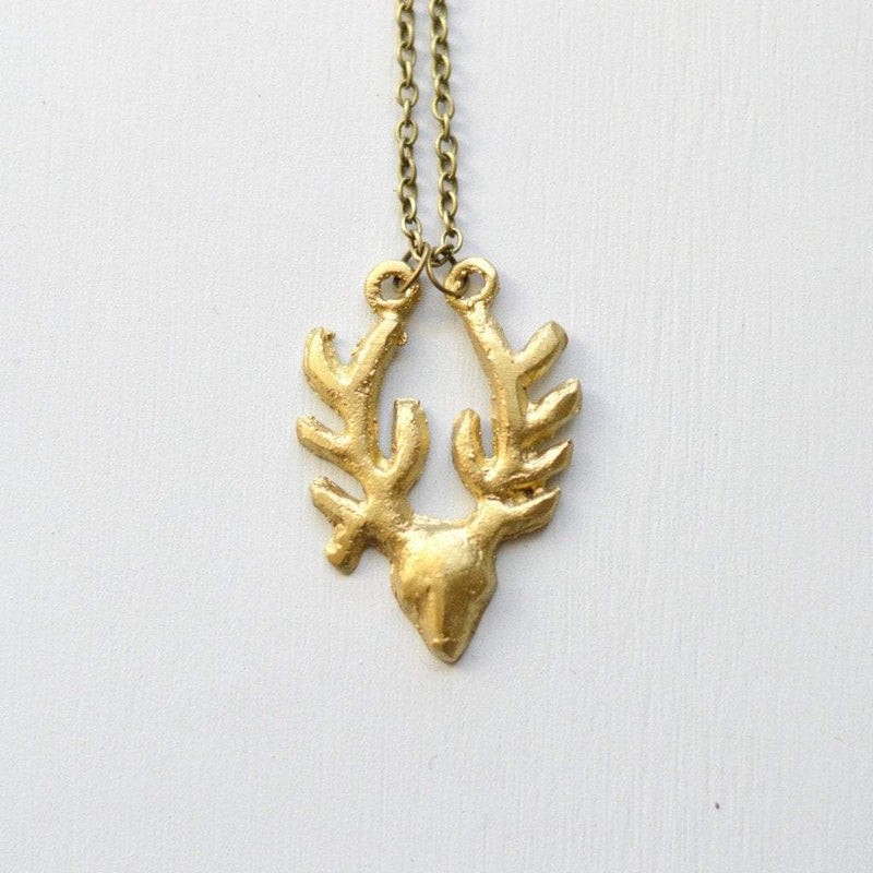 Antelope Pendant Necklace | Recycled Brass | Small
