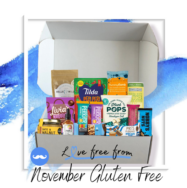 Novembers gluten free discovery box supporting movember.