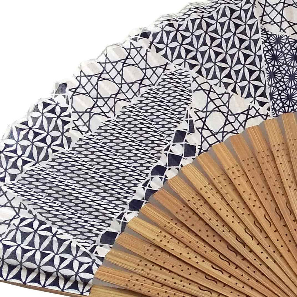 Edo cut glass folding fan dark blue