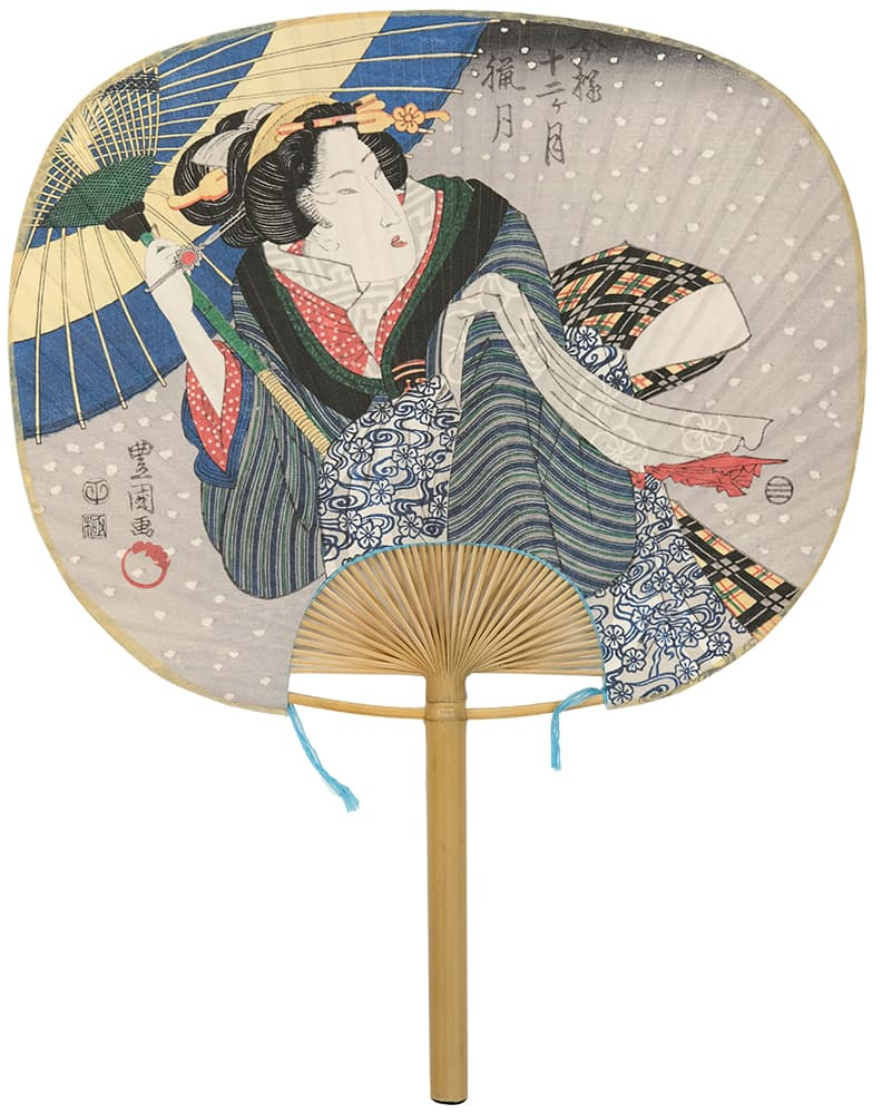 Edo Uchiwa Now Twelve Months Toyokuni Rougetsu (December of the Yin calendar)