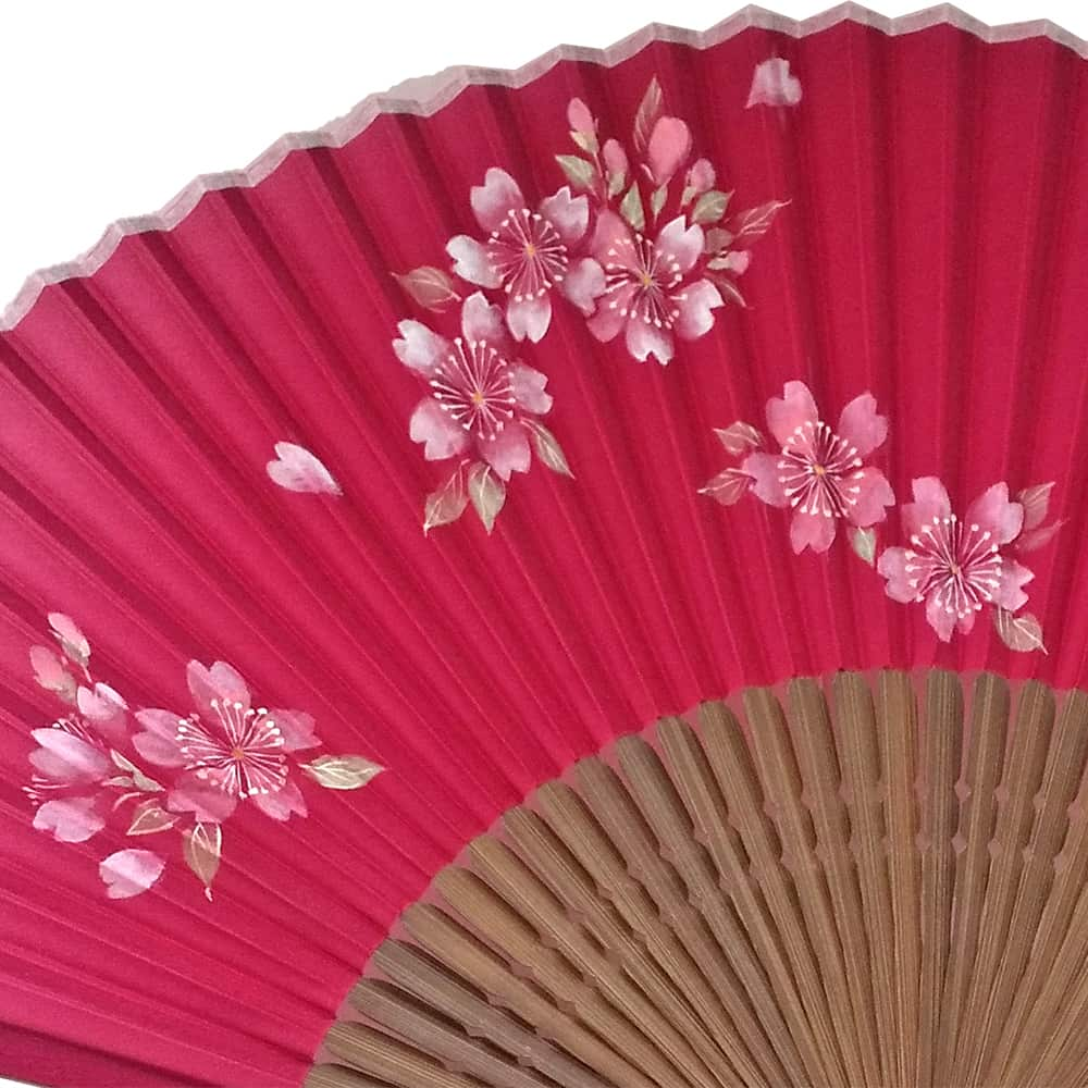 Silk fan with strawberry-colored cherry blossom illustrations