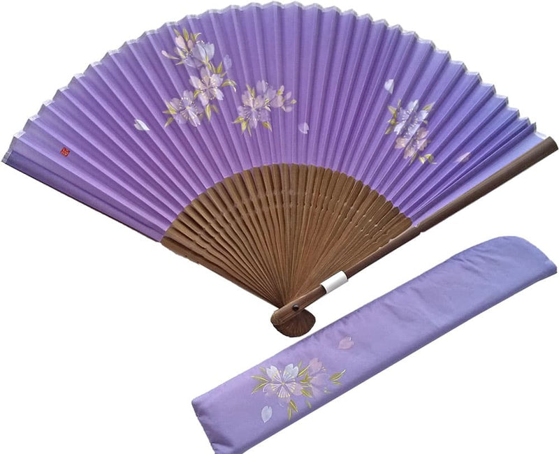 Silk fan Dragon gall color with illustrations of cherry blossoms