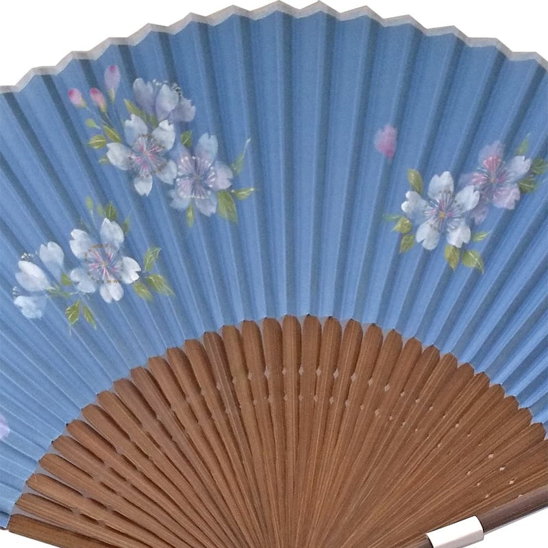 Silk fan with illustrations of rosy cherry blossoms