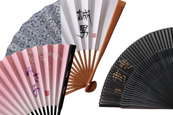 Entering No. 25 Edo folding fan both sides pattern crest of three squares literary fame case