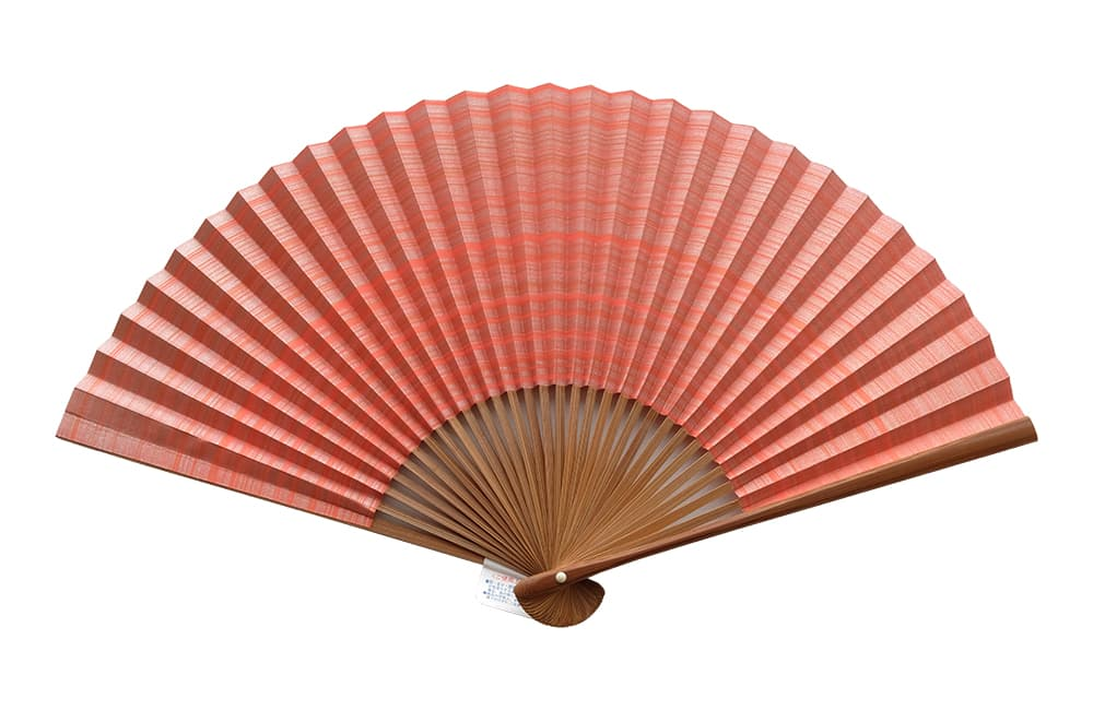 Shikebiki Sensu Double-sided Pattern Orange For Ladies
