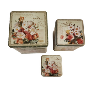 Floral print on lids of metal tin storage boxes