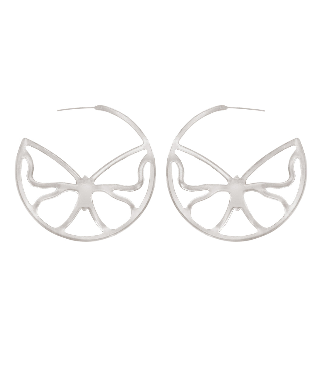 Breeze earrings butterfly design silver tone