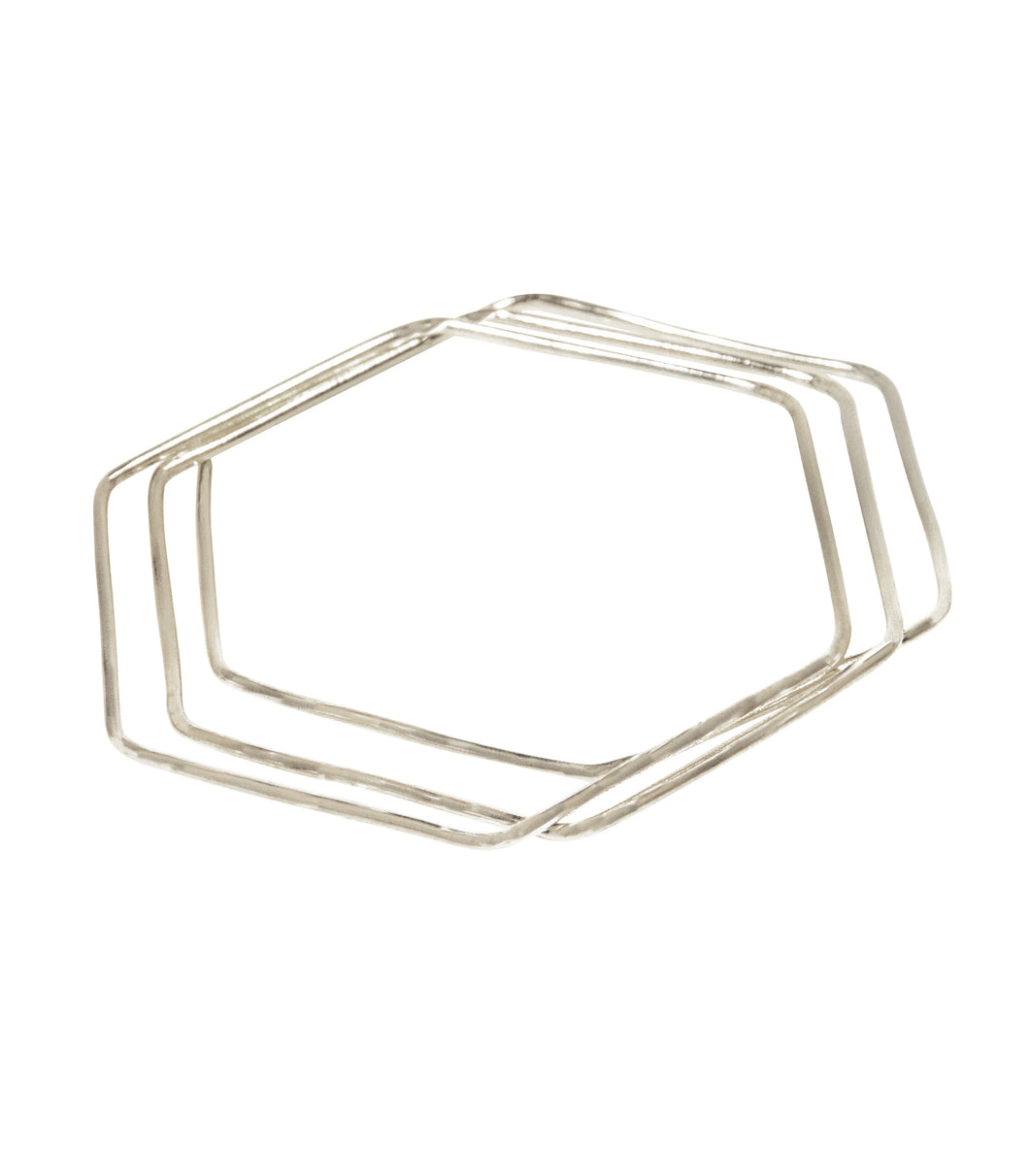 geo bangles rhodium hexagon shape set of 3
