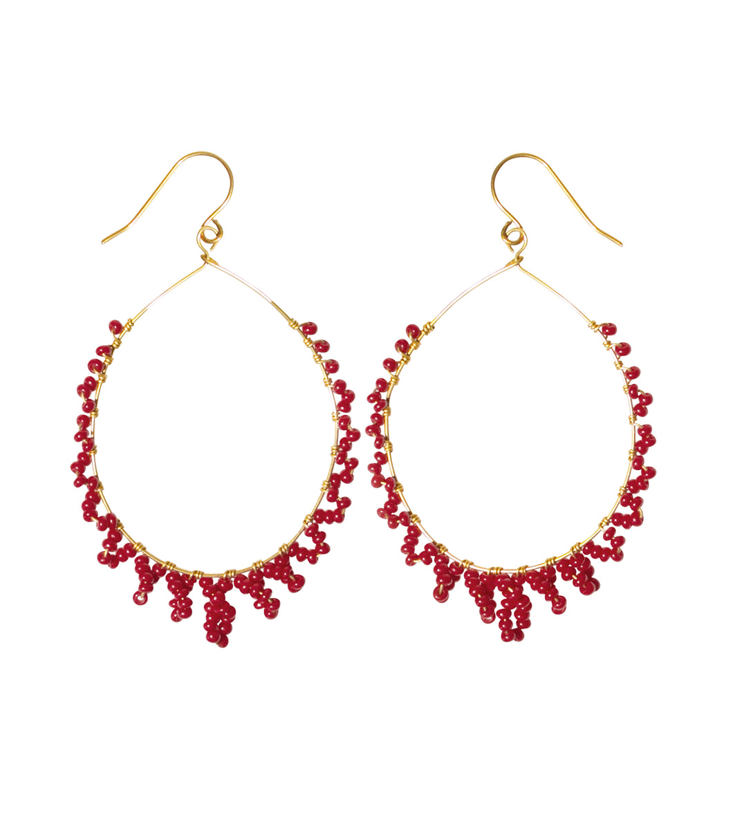 desert drop earrings brass with red beads