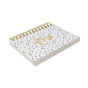 Side view gold polka dot diary