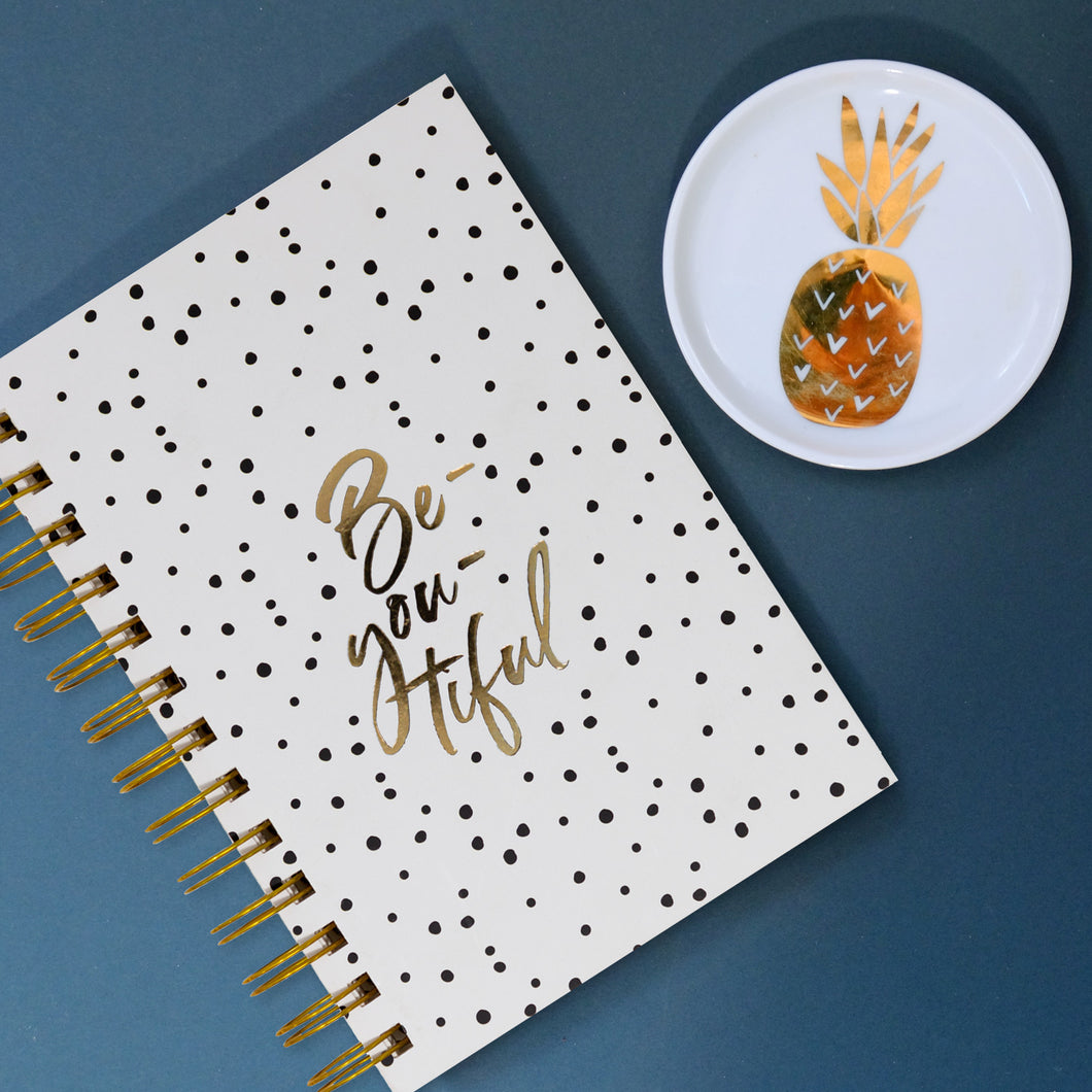 Gold polka dot spiral bound diary
