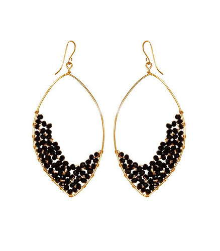 Dusk drop earrings gold with beads