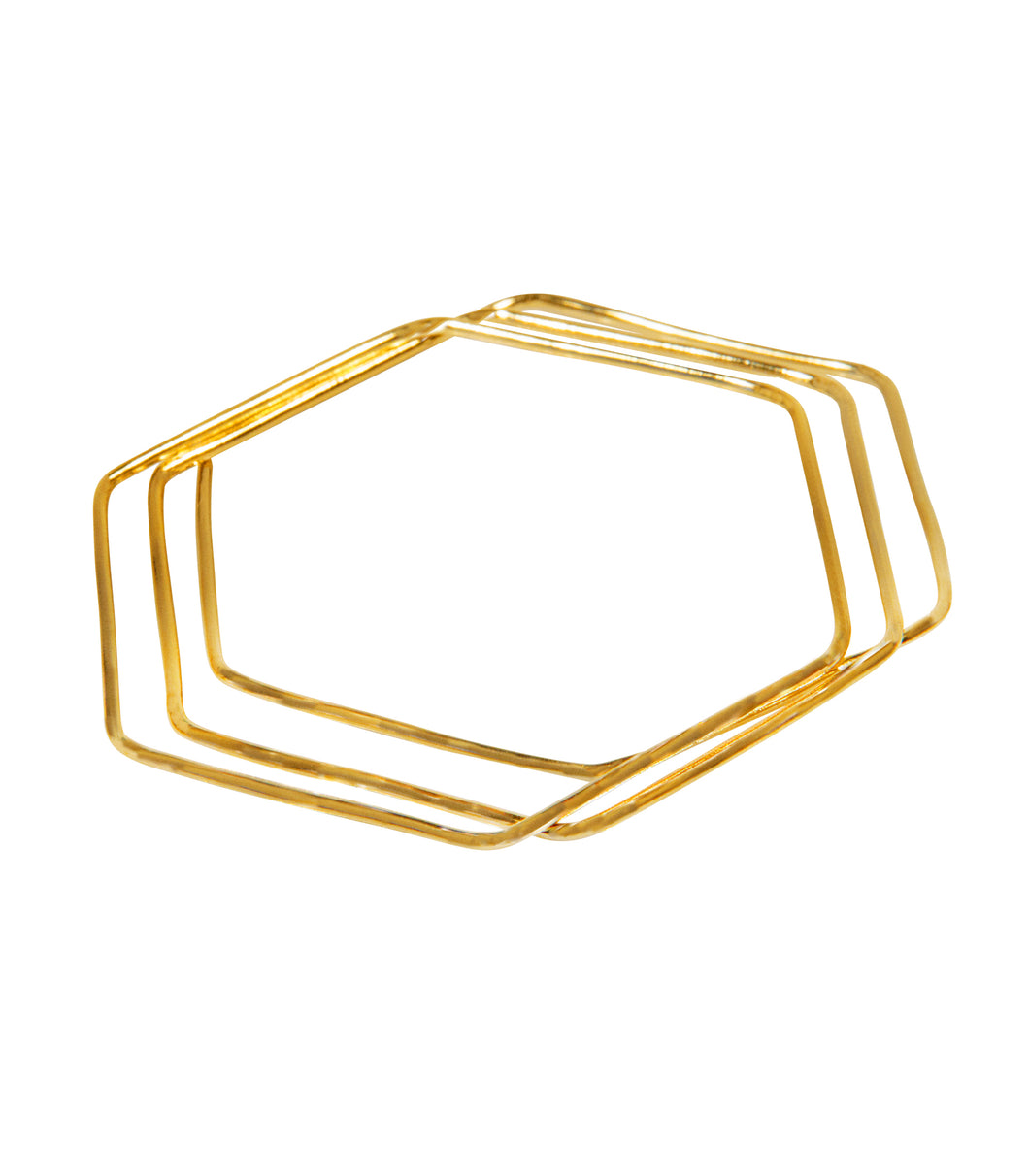 14k gold geo bangles hexagon shaped set of 3