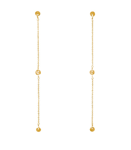 Golden coast earrings long hanging with 3 metal coins