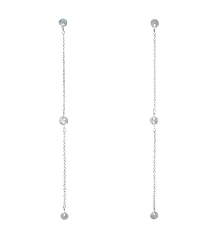 silver earrings drop hanging with metal coins