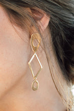 Load image into Gallery viewer, Juniper brass earrings with gold tone