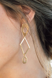 Juniper brass earrings with gold tone