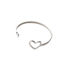 Load image into Gallery viewer, Silver finish heart bracelet cuff