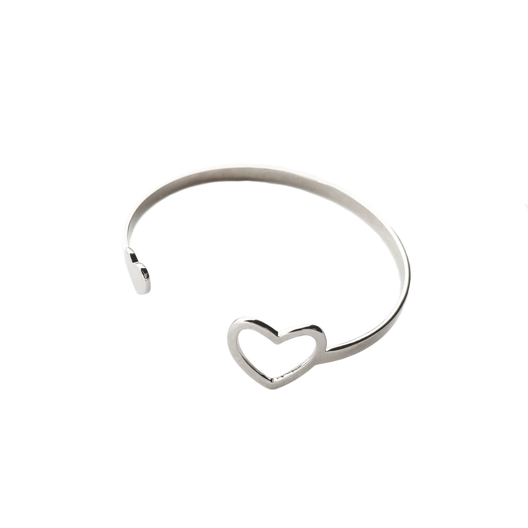 Silver finish heart bracelet cuff