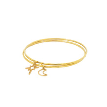 Load image into Gallery viewer, Hammered brass bangles with star and moon charms