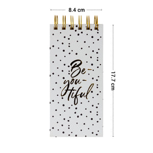 Gold spiral notepad be you tiful