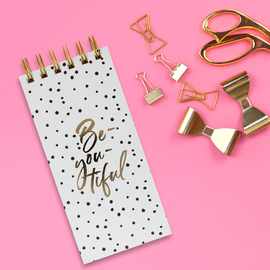 be you tiful gold polka notepad spiral bound