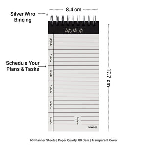 Silver wiro binding, schedule plans and tasks in weekly planner