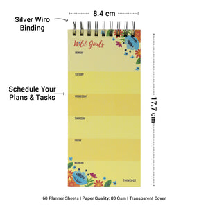 Compact easy to  carry size of weekly planner notepad with silver binding and area to schedule your plans and tasks
