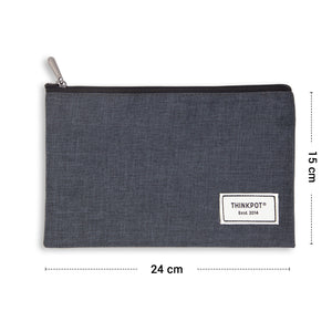 Black large pencil pouch with zip