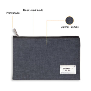 Black pouch made of canvas with inside lining