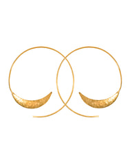 Load image into Gallery viewer, Handcrafted solstice brass hoop earrings