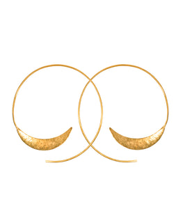 Handcrafted solstice brass hoop earrings