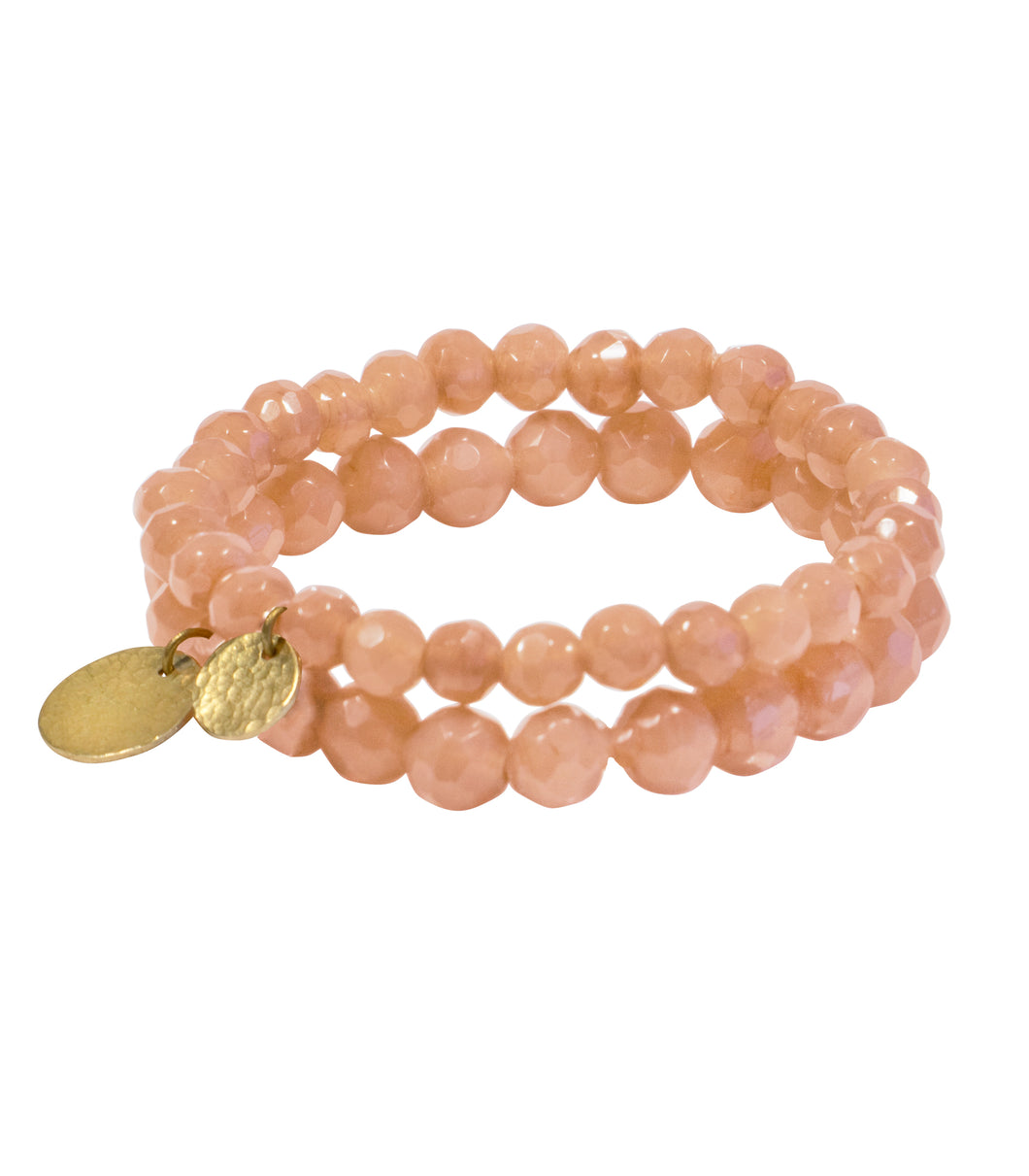 Blush bead stone bracelet with hammered coin hangings