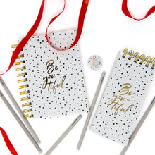 Load image into Gallery viewer, Polka be you tiful diary notepad pencils and badge gift set
