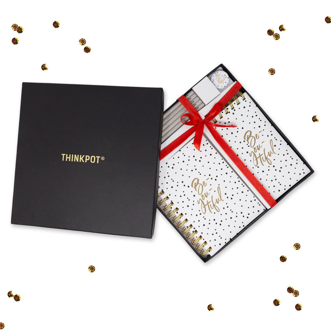 Polka stationery gift set in black box with ribbon