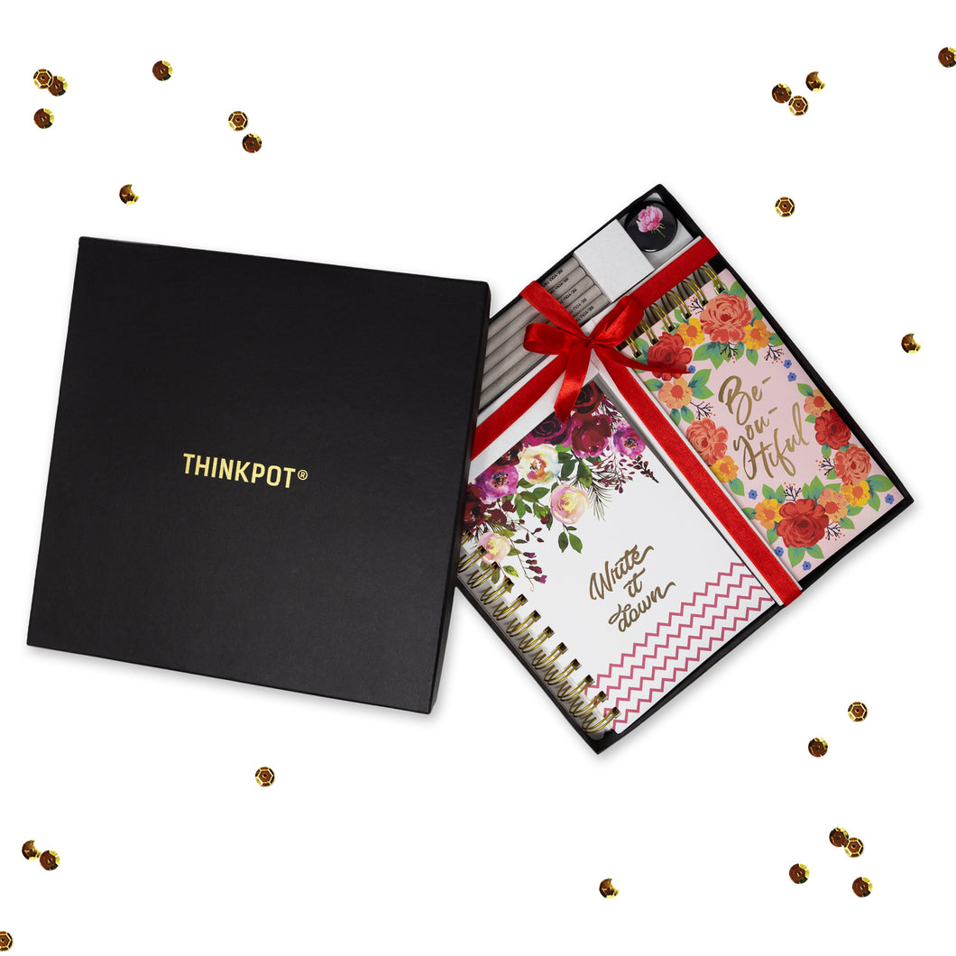 Floral sttionery gift set in box with ribbon