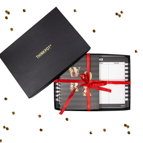 Work stationery gift set in box with ribbon