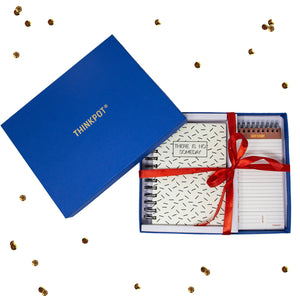 No someday stationery gift set in blue box with ribbon