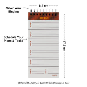Just start weekly planner notepad with wiro binding