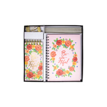 Load image into Gallery viewer, Gift set floral pink diary notepad pencils and gold clips