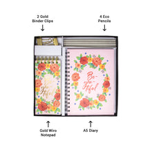Load image into Gallery viewer, Floral pink gift set in box 1 notepad 1 a5 diary 2 gold binder clips 4 eco pencils