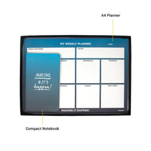 Load image into Gallery viewer, a4 weekly planner and compact notebook in a box