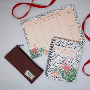 Flamingo stationery set diary weekly planner pouch