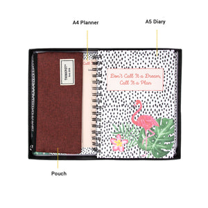 stationery set includes a4 planner a5 diary and pouch