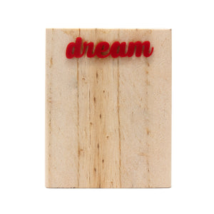 pine wood pen stand with dream written on side